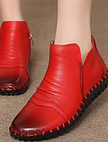 Women's Shoes Leather Spring / Fall Round Toe Boots Casual Flat Heel Zipper Black / Black and Red
