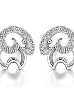 Silver Hollow  Sheep Transparent Rhinestones Lucky Fashion Hypoallergenic Earrings