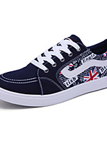 Men's Shoes PU / Fleece Casual Flats Casual Walking Flat Heel Others / Split Joint / Lace-up Black / Blue