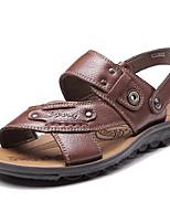 Zapatos de Hombre-Sandalias-Exterior / Casual-Cuero-Negro / Marrón / Amarillo