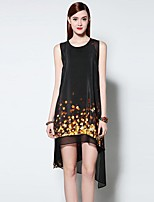Boutique S Women's Going out Sophisticated Loose Dress,Print Round Neck Asymmetrical Sleeveless Black Polyester