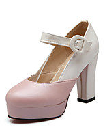 Women's Heels Summer / Fall Heels / Round Toe PU Office & Career / Casual Chunky Heel Buckle Pink / Purple / White
