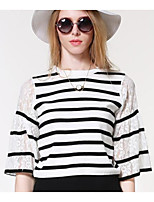 Women's Casual/Daily Simple Cardigan,Striped White ½ Length Sleeve Nylon Fall Medium