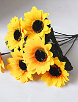 1 Bouquet Yellow Silk Sunflower Decorative Flower 7 Branch/Bouquet Two Size Choose Artificial Flower Home Decoration
