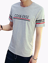 Men's Fashion Letter Print Round Collar Slim Fit Short-Sleeve T-Shirt;Casual/Cotton/Print/Plus Size