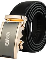 Katusi New Mens Black Ratchet Belt Fashion Business Casual Style Genuine Leather 3.5cm Width 8-4