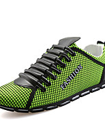 Men's Flats Spring / Fall Round Toe Tulle Athletic Flat Heel Lace-up Blue / Yellow / Green / Gray Sneaker