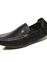 Men's Loafers & Slip-Ons Summer Comfort / Round Toe Leather Casual Flat Heel Others Black / Blue / Brown / White Walking