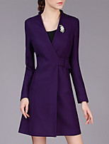 Women's Work Simple Coat,Patchwork Deep V Long Sleeve Winter Red / Black / Purple Polyester Thick