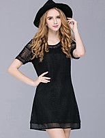 Women's Casual/Daily Street chic Lace Hook Plus Size / Loose Dress,Solid Round Neck Above Knee Short Sleeve