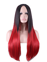 Europe and the United States Straight Selling Foreign Trade Black, Fuxia Gradient in Long Synthetic Wigs