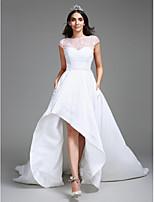 Lanting Bride® Balowa Suknia ślubna Asymetryczna W kształcie serca Tafta z Koronka / Perły / Cekiny
