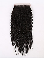 EVAWIGS Brazilian Virgin Hair Natural Colour Hair Pieces Lace Closure 4x4 Inch Small Curly With Wrapping Closure