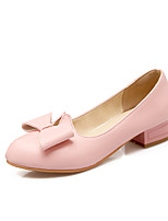 Women's Shoes PU Summer/Fall Comfort/Round Toe Heels Office & Career/Casual Chunky Heel Bowknot Pink/Gray/Almond