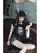 MizhenWomen's Print Black T-shirt,Round Neck Sleeveless