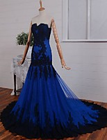 Formal Evening Dress Fit & Flare Sweetheart Court Train Lace / Tulle with Appliques