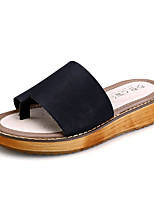 Women's Shoes PU Flat Heel Comfort / Round Toe Sandals Dress Black / White