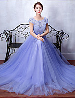 Formal Evening Dress A-line Scoop Sweep / Brush Train Tulle / Stretch Satin with Appliques / Beading / Sash / Ribbon / Sequins