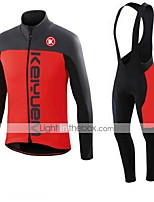 KEIYUEM® Winter Thermal fleece Long Sleeve Cycling Jersey+Long Bib Tights Ropa Ciclismo Cycling Clothing Suits #W45