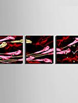 Moderno/Contemporáneo Floral/ Botánico Reloj de pared,Cuadrado Lienzo40 x 40cm(16inchx16inch)x3pcs/ 50 x 50cm(20inchx20inch)x3pcs/ 60 x