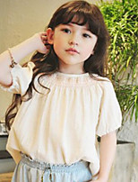Girl's Going out Solid Blouse,Cotton Summer / Spring Pink / White