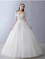 A-라인 웨딩 드레스 바닥 길이 오프 더 숄더 튤 와 아플리케 / 비즈 / 진주 / 허리끈 / 리본