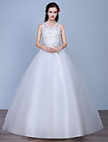 Ball Gown Wedding Dress-Floor-length V-neck Lace / Satin / Tulle