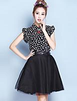 Vrouwen Street chic Zomer Blouse,Casual/Dagelijks Print Overhemdkraag Mouwloos Zwart Polyester Dun
