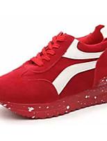 Da donna-Sneakers-Casual-Comoda-Piatto-Felpato-Nero / Rosso