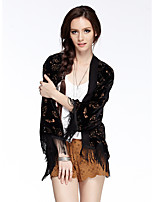 Women's Going out / Casual/Daily Vintage Spring / Summer / Fall Blouse,Solid Asymmetrical ¾ Sleeve Black Nylon Thin