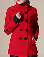 Women's Going out / Casual/ Street chic Coat,Solid Shirt Collar Long Sleeve Fall /  Red / Beige / Black / Green Wool
