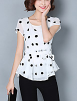 Women's Casual / Plus Size / Street chic Lacing Slim Summer Chiffon Blouse,Polka Dot Short Sleeve White Polyester Medium