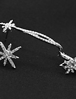 Fashion Silver Snowflake Shape Rhinestone Cuff Earrings (1 PC)
