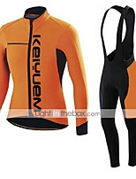 KEIYUEM® Winter Thermal fleece Long Sleeve Cycling Jersey+Long Bib Tights Ropa Ciclismo Cycling Clothing Suits #W44