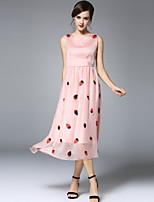 Viva Vena® Women's V Neck Sleeveless Tea-length Dress-VA88167