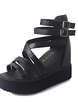 Women's Sandals Summer Open Toe PU Casual Wedge Heel Others Black / Silver / Beige