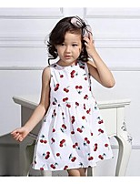 Girl's Casual/Daily Print Dress,Cotton Summer / Spring Black / White