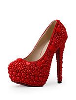 Mujer-Tacón Stiletto-TaconesBoda / Vestido / Fiesta y Noche-Tejido-Rojo