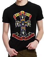 Men's Metal Band Printing Cotton Cross Design 3D Loose T-shirt
