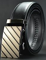 Men Black Automatic Buckle Wide Belt Waist Strap,Work / Casual Leather