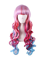 Pink Red Color Ombre Lolita Harajuku Wig Anime Cosplay Costume Party Women Curly Wave Heat Resistant Wigs