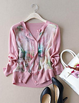 Women's Going out Simple Cardigan,Floral Blue / Pink Long Sleeve Cotton Summer Thin
