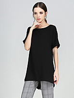 Women's Casual/Daily Street chic Summer Blouse,Patchwork Round Neck Short Sleeve Black Polyester Medium
