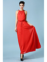 Women's Casual/Daily Sexy Sheath / Chiffon Dress,Solid Ruff Collar Maxi Sleeveless Red Others All Seasons