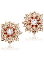 Sweet Party Cubic Zirconia Earrings Wedding Fashion Flower Shape 18k Gold Plated Stud Earrings