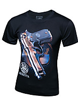 Men's Summer Fashion Popular  Personality Pistol Graffiti Short Sleeve Printing T-shirts