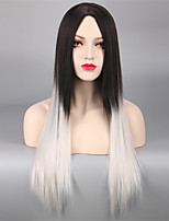 Europe And The United States Wig Ms 65 cm long, Straight Hair Black Ash Synthetic High Temperature Gradients