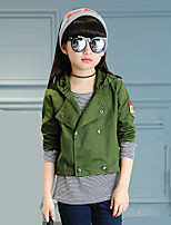Girl's Fashion Wild Casual/Daily Army Green Cotton Hoodies Trench Coat