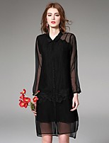 Angel Women's Casual/Daily Street chic Loose Dress,Solid Shirt Collar Asymmetrical Long Sleeve Black Linen Summer