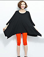 Women's Casual/Daily Simple Summer T-shirt,Solid Round Neck ¾ Sleeve Red / Black / Gray Polyester Opaque